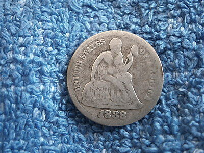 Scarce: Silver Seated Liberty Dime 1888-P Very Good++++ To Fine Condition!!