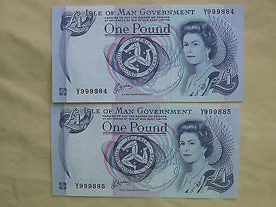 Isle Of Man One Pound Bank Note Times Two Consecutive Uncirculated