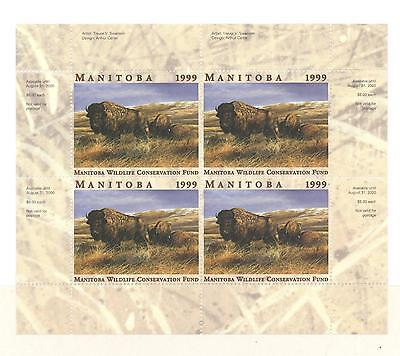 MANITOBA WILDLIFE MINIATURE SHEET 1999 MWF6b BISON BY TREVOR V. SWANSON