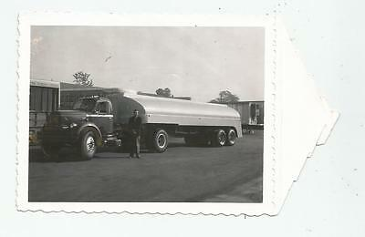 1958 Super!!! Tanker Tractor Trailer Truck Polaroid Photo Conventional Gas Fuel