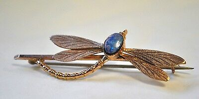 Art Nouveau 9ct Rose Gold Dragonfly Brooch with Multi-coloured Opal Doublet -