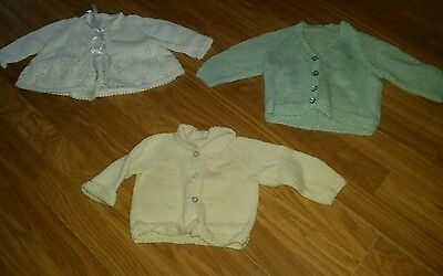 3 x Baby Girls Hand Knitted Cardigans Age 0-3 Months