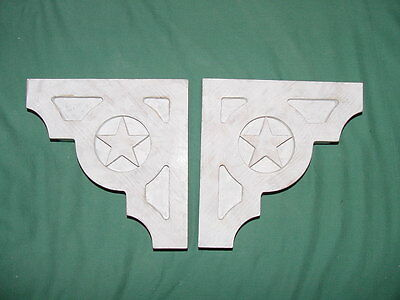 "PAIR of Wood Corbels..Weathered White..""Lone Star"" design, 10 x 10"