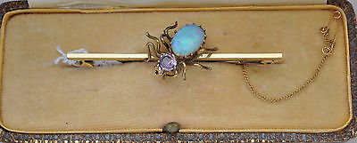 Antique Victorian 15ct Gold Amethyst & Opal Bug Brooch with Safety Chain