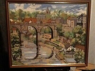 Large Unusual Cross Stitch Picture Viaduct And Houses 52cm X 44cm Framed
