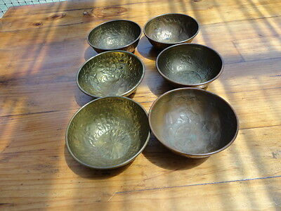 Vintage small brass bowls early egyptian design (six)
