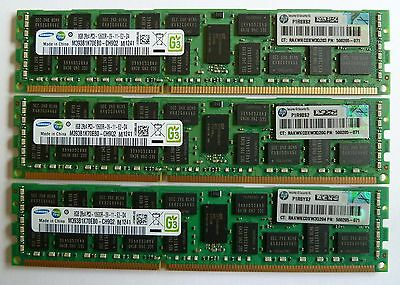 HP 24GB (3x8GB) DELL 500205-071 PC3-10600R DDR3 1333MHz ECC Memory