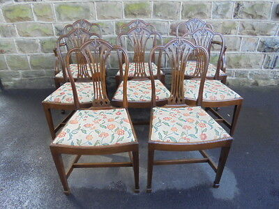 Antique Matching Set 8 Mahogany Hepplewhite Style Dining Chairs
