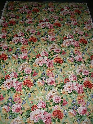 Vintage look (modern) yellow chintz country floral linen large fabric length