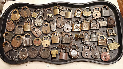 Large Mix Padlock Lot Brass Iron , 6  Lever , Some Locks With Key All Locked