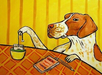 pointer tea time signed dog art print 8x10