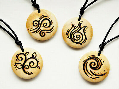 Elements Necklace Earth Air Fire or Water Symbol Pendant Wooden The 4 Elements