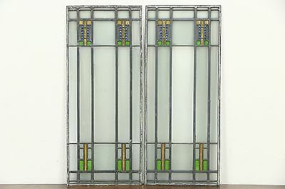 Pair Arts & Crafts Antique 1910 Leaded Stained Glass Craftsman Windows