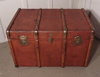 Large French Canvas, Wood and Brass Bound Steamer Trunk, by ABRIVARD