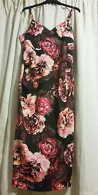 Size 12 ASOS Maternity Pencil Dress In Black/Red Floral Print