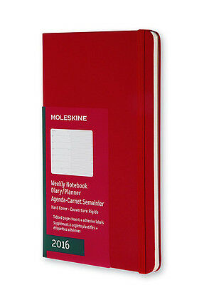 2016 RED moleskine HARD cover WEEKLY NOTEBOOK dairy PLANNER office CALENDER