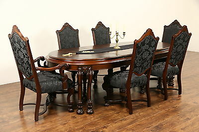 Renaissance 1925 Antique Dining Set, Table & 3 Leaves, 6 Chairs New Upholstery