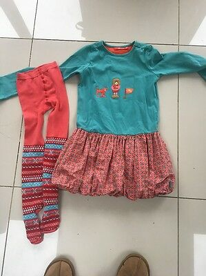 Girls Oilily Dress And Tights 6-8 Years