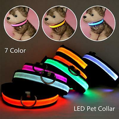 Flashing LED Dog Collar Adjustable Waterproof Nylon Night Time Safety