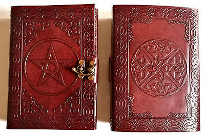 Pentagram and Celtic knot leather journal , book of shadows, Wicca Pagan Witch