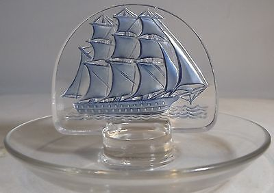 Vintage Lalique Clipper Ship Pin Dish Tray Signed R. Lalique Blue Colouring