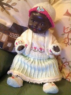 Black Composition Vintage Black doll With Knitted Outfit In Excellent Condition.