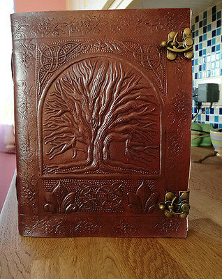 "Tree of Life leather journal / Dream / book of shadows , Wicca Pagan Witch 9""x7"""