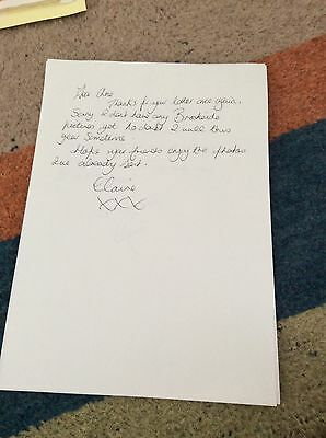 Claire Sweeney (Brookside) Hand Written Letter