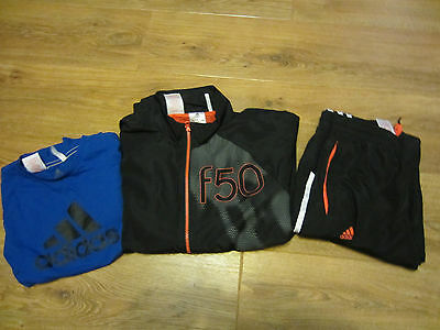 boys adidas f90  tracksuit and t-shirt size age 7-8
