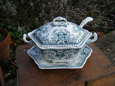 Antique Vintage Ceramic Lidded Sauce Bowl with Ladel Stanley Pottery England