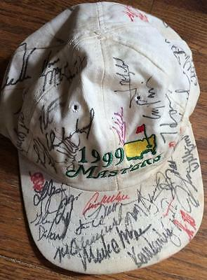1999 Masters Cap- Signed by 39 Champions- Tiger Woods,Arnold Palmer Etc