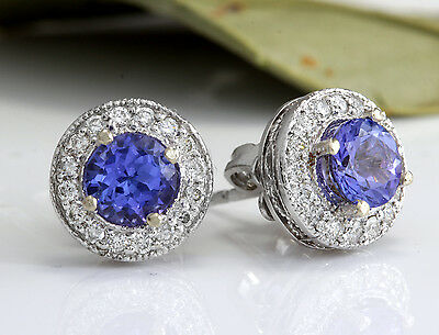1.80Ct Natural Tanzanite and Diamond 14K Solid White Gold Earrings
