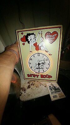 new old stock betty boop neon light tin litho metal clock in box liberty sign co