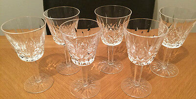 Waterford Crystal Sherry Wine 6 X Glasses Lismore Vintage 1950 Excellent