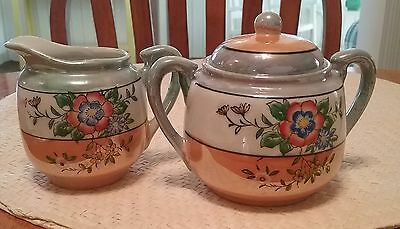 Vintage lustreware hand painted made in Japan, creamer and sugar