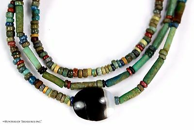 "101) 23"" 1/2 Necklace Good Quality Ancient Egyptian Glassed Faience Beads 2500yo"