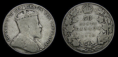 Canada 1910 Silver Fifty 50 Cent Piece King Edward VII VG-8