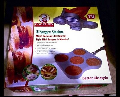 5 Burger Station - restaurant style mini-burgers by Cookinex - NIB