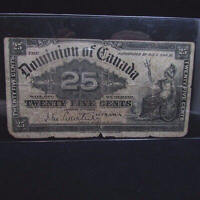 1900 Dominion of Canada 25 Twenty Five Cents Fractional Currency Banknote