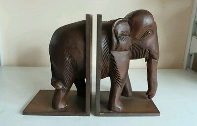 Pair Of Vintage Carved Wood Elephant Bookends Ornate Book Ends Holders Home Deco