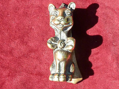 Vintage Bronze Door Knocker Art Deco Happy Cat