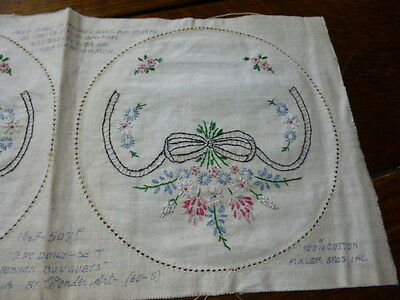 Vintage Stamped to Embroider Pillowcase Cover Fixler Bros. Ribbon Bouquet
