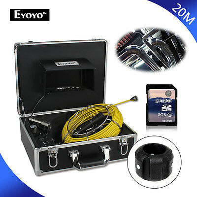 Updated 20M Sewer Waterproof Pipe Drain Video Camera DVR Inspection HD 12pcs LED