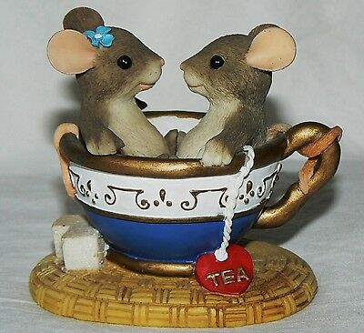 """Dean Griff Charming Tails """"You Are My Cup of Tea"""" Fitz & Floyd mice"""