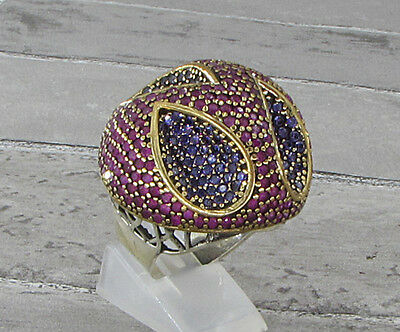 925 SILVER VINTAGE ANTIQUE FINISH RUBY & AMETHYST COCKTAIL RING 23g - Sz 8.5
