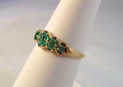 Vintage 10K Yellow Gold .75ctw Emerald Band Ring   1.8G  Sz 5.75  No Reserve