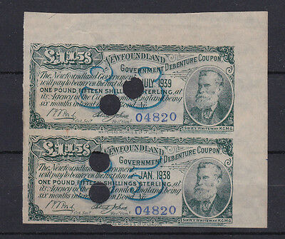 Pair Of 1880's Newfoundland Government Debenture Coupons