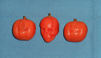 vintage Halloween GURLEY CANDLE LOT OF 3 tiny candles jack-o-lantern skull