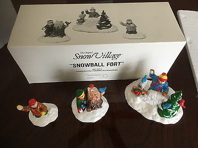 "Dept 56 SNOW VILLAGE ""SNOWBALL FORT"" Set of 3 #5414-3 NEW"