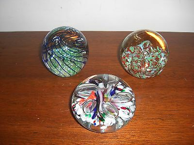 3 Lovely Art Glass Paperweights Ex Cond.